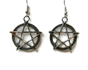 Pentagram earrings, pagan earrings, wicca earrings, death metal earrings, punk earrings, occult earrings, occult jewelry, punk jewelry