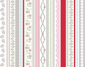 Riley Blake-Polka Dot Stitches-Pink Stripe-sold by the yard