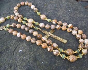 Classic Rosary - Picture Jasper and Serpentine