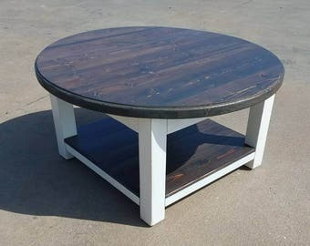 Round Farmhouse Coffee Table With Dark Walnut Stained Top And Lower Shelf    Reclaimed Wood Coffee Table