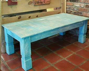 Reclaimed Wood Turquoise Farmhouse Style Coffee Table With Distressed  Finish, Shabby Chic, Rustic Furniture.