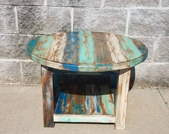 Reclaimed Wood Round Coffee Table   Farmhouse Coffee Table   Rustic Coffee  Table   Farmhouse Furniture