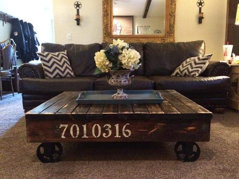 Superieur Industrial / Rustic Rail Cart Coffee Table, Farmhouse Style, Reclaimed Wood  Coffee Table   Farmhouse Furniture