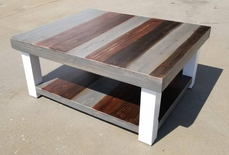 Reclaimed Wood Coffee Table With Multi Colored Stain And Lower Etsy