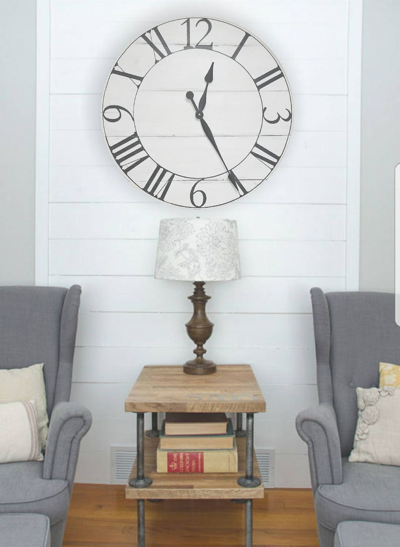 The Russell Farmhouse Clock Rustic Clock Oversized Wall Clock Big Clock Large Clock Farmhouse Decor Rustic Decor