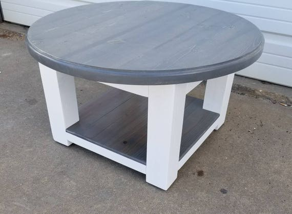 Round Farmhouse Coffee Table With Gray Stained Top And Lower Etsy