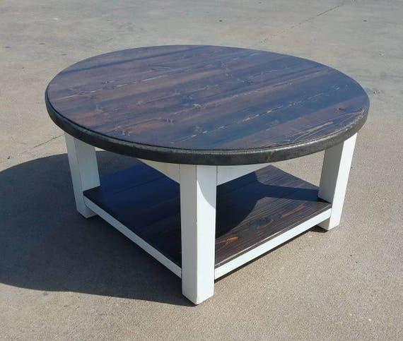 round farmhouse coffee table Round farmhouse coffee table with dark walnut stained top and | Etsy round farmhouse coffee table