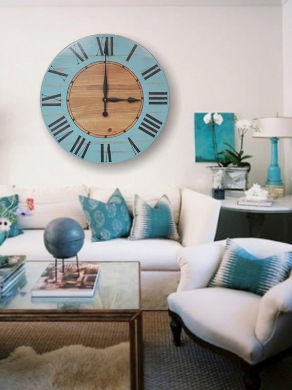 Modern Farmhouse Rustic Blue Wood Wall Clock