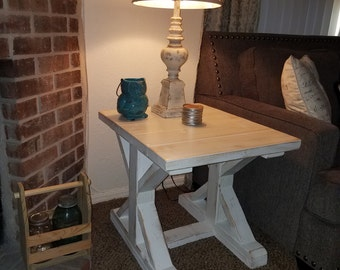 Farmhouse end table with trestle legs and white distressed finish -  shabby chic - rustic furniture- reclaimed wood table -