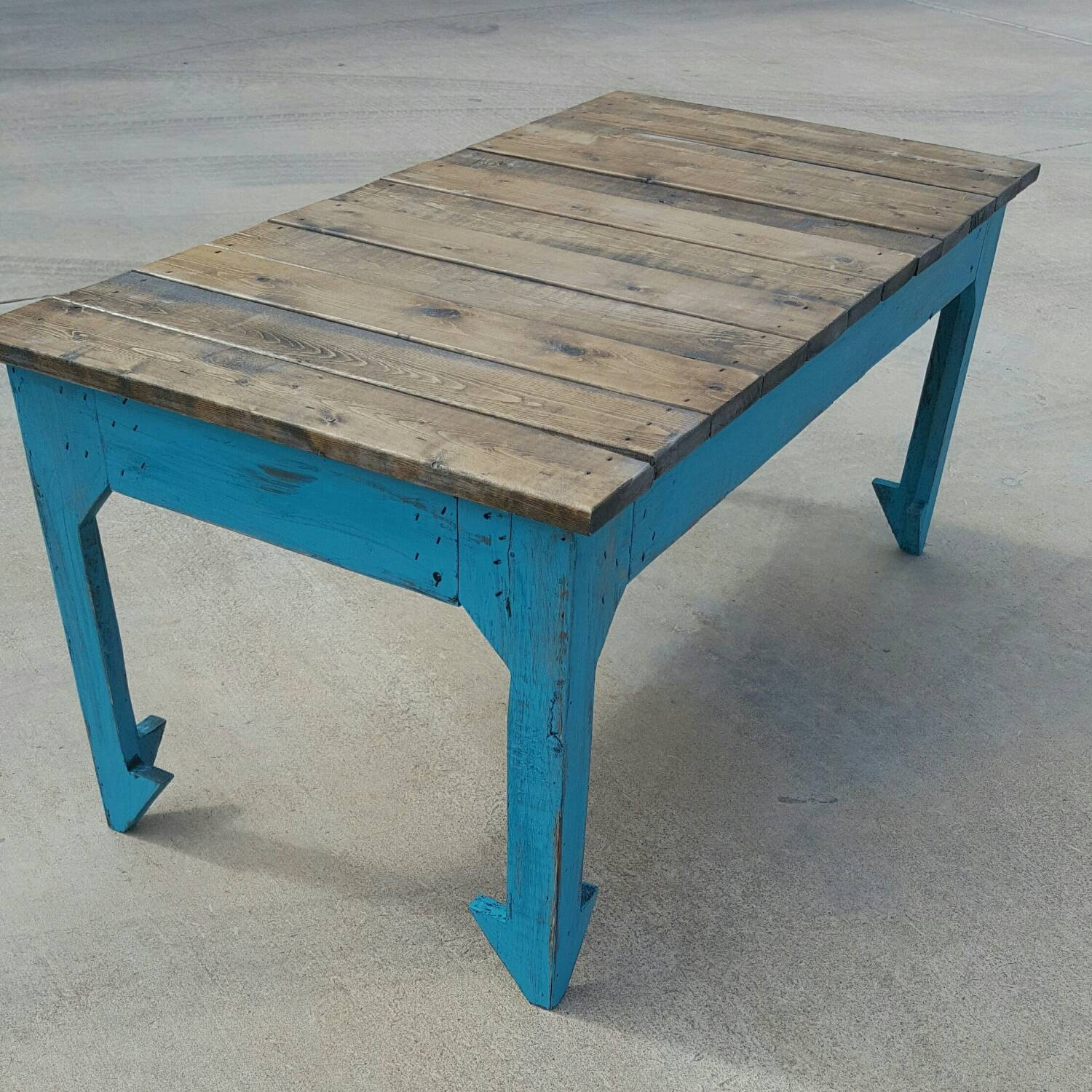 Farmhouse coffee table with arrow legs reclaimed wood coffee  Etsy