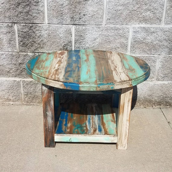 Reclaimed Wood Round Coffee Table Farmhouse Coffee Table
