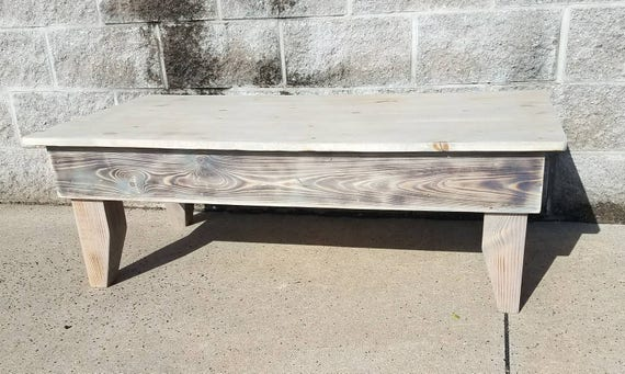 Farmhouse Coffee Table With Weathered Distressed Finish Etsy