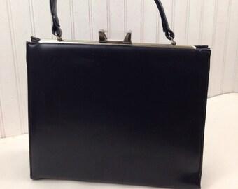60s Vegan Leather Top Handle Handbag Garay Purse Navy Blue Lucite Clasp  Vintage 4cd50815d54ba