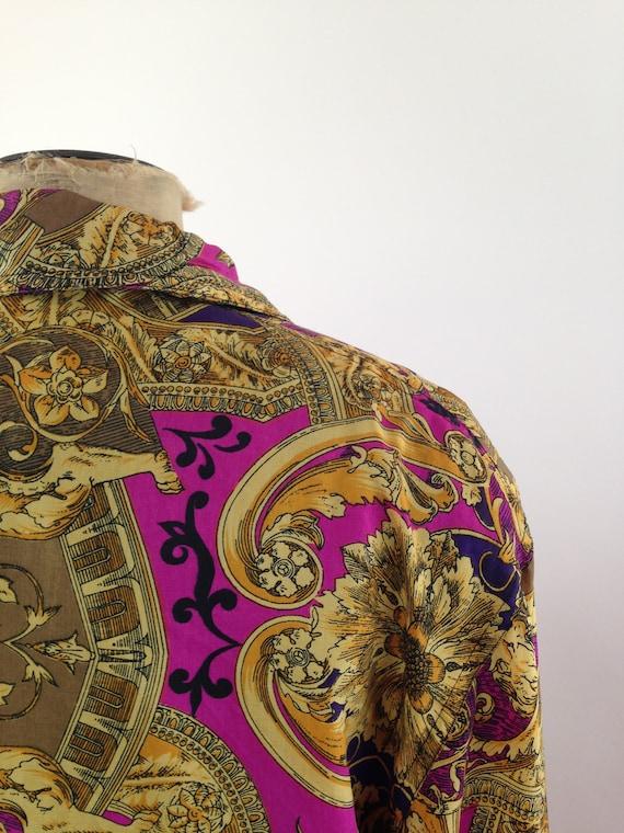 Silk Baroque Bomber Jacket Womens M Vintage 90s T… - image 6