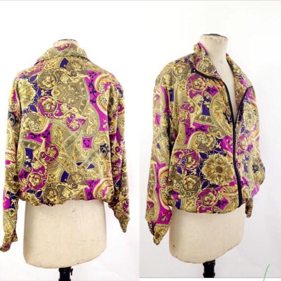Silk Baroque Bomber Jacket Womens M Vintage 90s T… - image 1