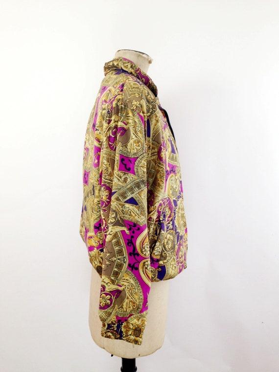 Silk Baroque Bomber Jacket Womens M Vintage 90s T… - image 10