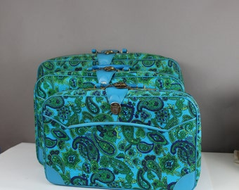 1960S Psychedelic Paisely Luggage Set Blue Green Set of 3 Suitcases Vegan Vinyl With Keys