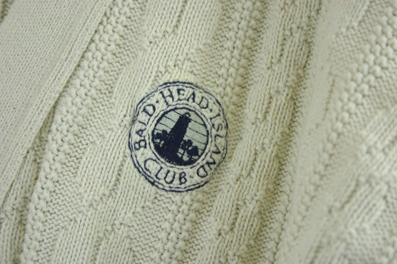90s Preppy V Neck Cardigan Mens XL Cable Knit Bald Head Island Country Club Outer Banks NC Off White