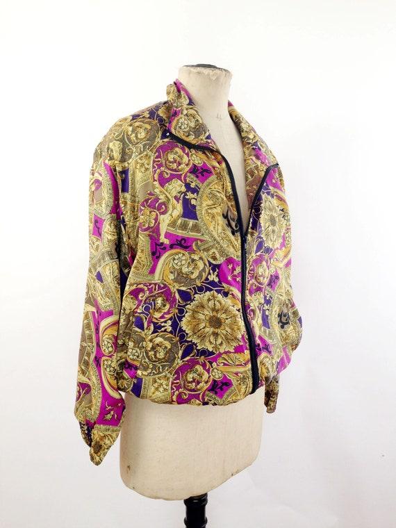 Silk Baroque Bomber Jacket Womens M Vintage 90s T… - image 2