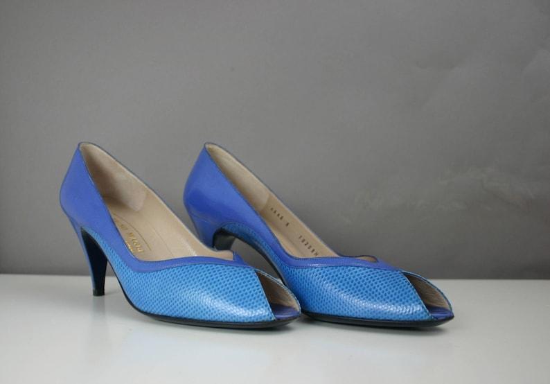 d5644e63fe6 Bruno Magli Womens 8 N Leather   Snakeskin Open Peep Toe Blue