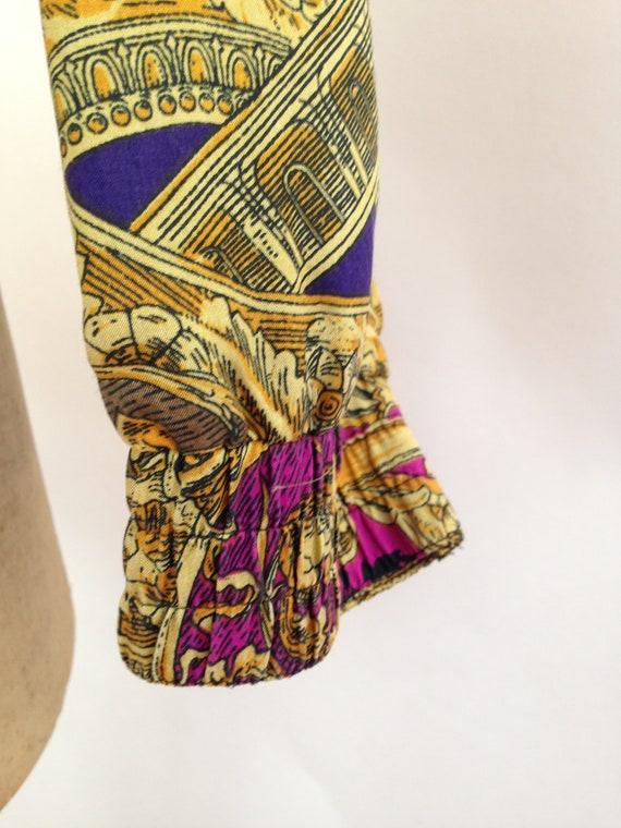 Silk Baroque Bomber Jacket Womens M Vintage 90s T… - image 7