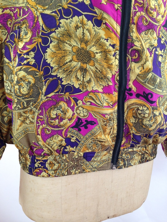 Silk Baroque Bomber Jacket Womens M Vintage 90s T… - image 8