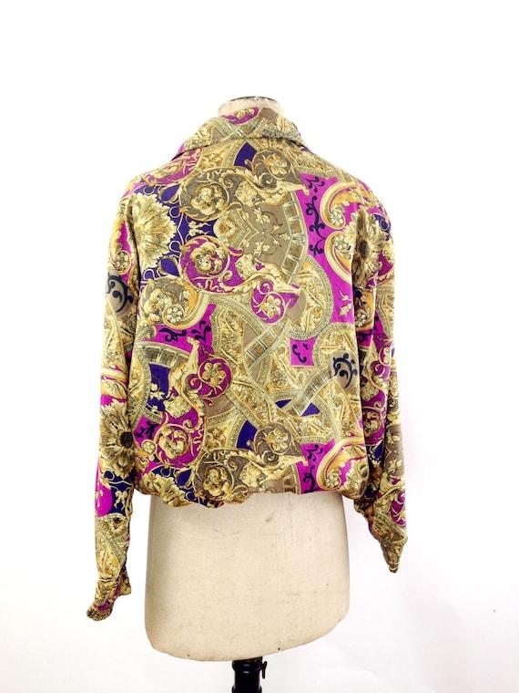 Silk Baroque Bomber Jacket Womens M Vintage 90s T… - image 4