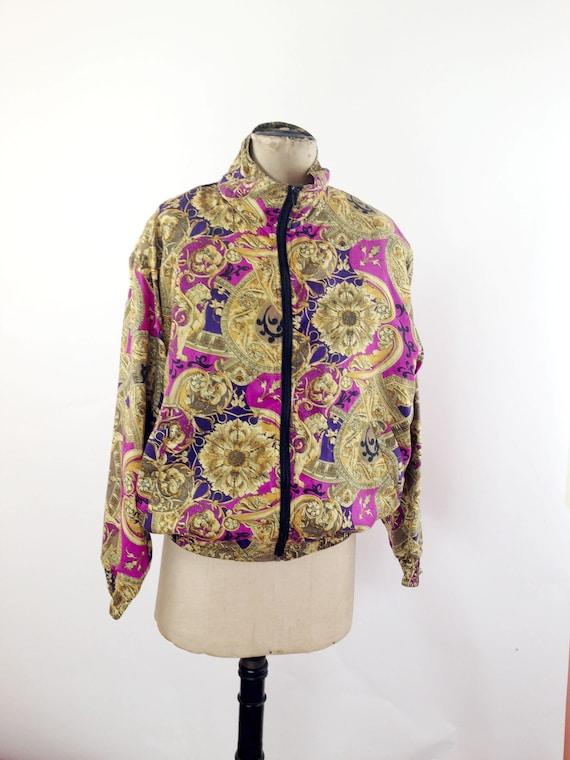 Silk Baroque Bomber Jacket Womens M Vintage 90s T… - image 3