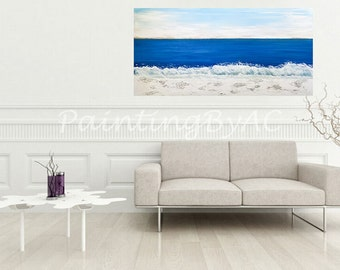 Large Landscape Painting,Contemporary Fine Abstract Art,48x24 inches