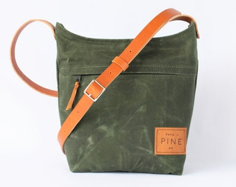 Waxed Canvas Cross Body Purse // Handbag // Bag // Green