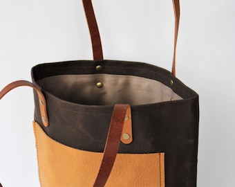 Tote Bag // One of a Kind // Waxed Canvas and Leather // Moose Leather // Brown