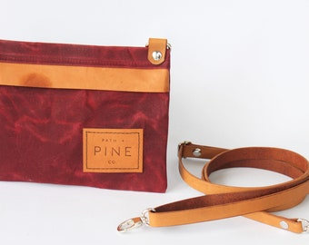 Cross Body // One of a Kind // Waxed Canvas // Kangaroo Leather // Red