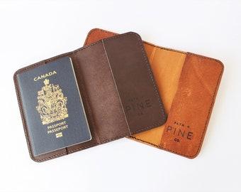 Leather Passport Holder // Handstitched // Vegetable Tanned Leather // Passport Wallet // Passport Cover // Chestnut Brown