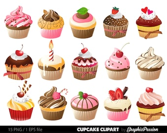 Cupcakes Clipart Digital Cupcake Clip Art Illustration Vector Birthday Cakes Bakery Sweets Frosting Chocolate
