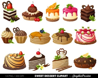 Cake Digital Clipart Pastry Clip Art Sweet Treat Dessert Vector Graphic Scrapbooking Card Design Invitations