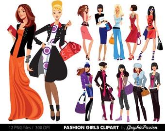 cartoon girl clipart kawaii girls clipart fashion girls etsy rh etsy com clipart of womens clothing clipart for women's wear