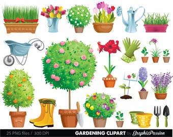 Garden Clipart Etsy