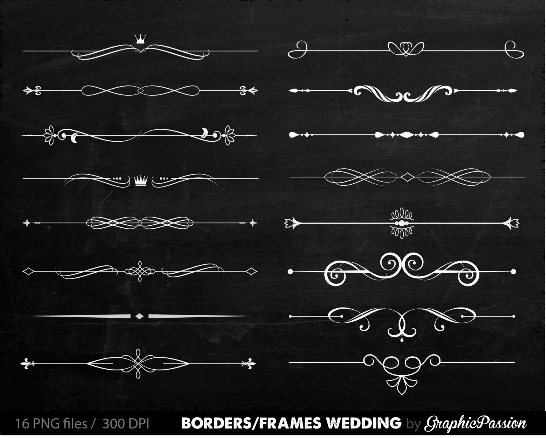 Digitale Grenzen Rahmen verzierten Vintage Hochzeit Einladung | Etsy
