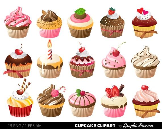Cupcakes Clipart Digital Cupcake Clip Art