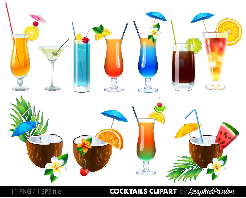 Sommer Cocktails Clipart Cocktail Clip Art Sommer Clipart   Etsy