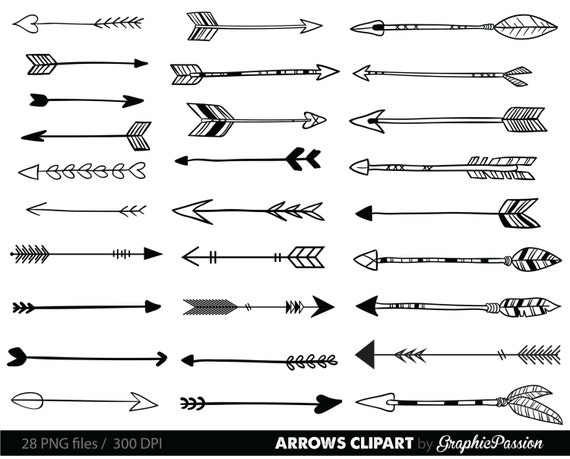 arrows clip art tribal arrow clipart archery hand drawn rh etsy com arrow clip art free images arrow clip art png