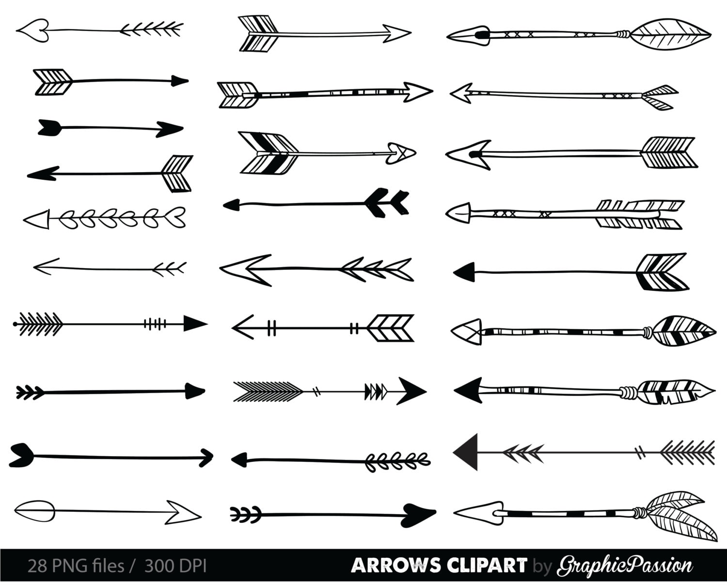 Arrows clip art tribal arrow clipart archery hand drawn | Etsy