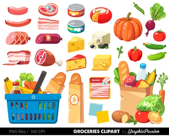 grocery clipart shopping clipart food clipart dinner clipart etsy rh etsy com grocery store clip art free grocery store clipart black and white