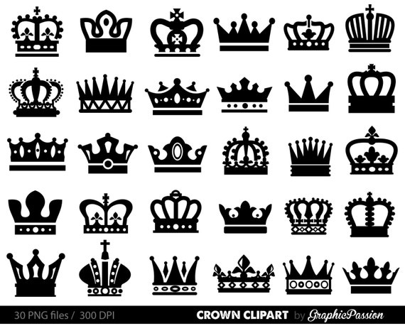 Crown Clipart King Queen Crown Clip Art Royal Crown Etsy
