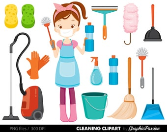 Spring Cleaning clipart vacuum clening clipart cleaning illustrations Housework Clipart Cleaning clipart House Chores