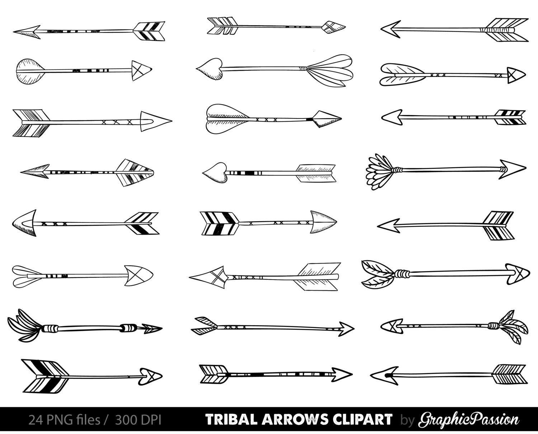 Arrows clip art tribal arrow clip art archery hand drawn ...