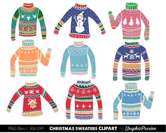 Christmas Sweater Clipart.Ugly Christmas Sweater Clipart Christmas Sweater Graphics Christmas Clipart Digital Clip Art Clothes Holiday Sweaters Clip Art Christmas Png
