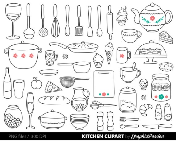Kitchen Clipart Baking Clipart Kitchen Utensils Clipart Baking Etsy