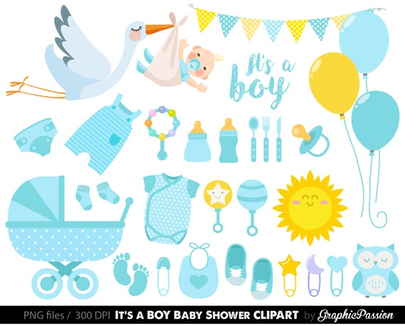 Baby Boy Clipart Boy Baby Shower Clipart Blue Baby Clipart Etsy