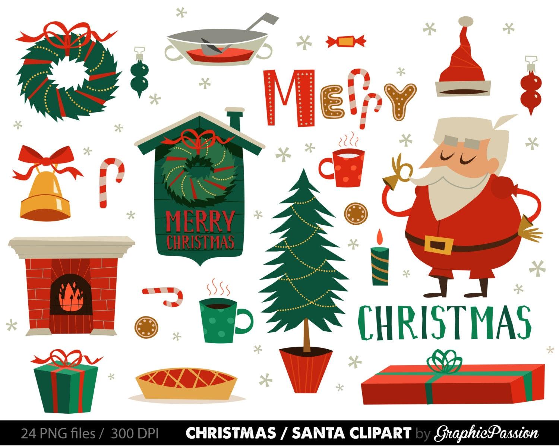 Santa Clipart Weihnachtscliparts Set Weihnachtsmann ClipArt | Etsy
